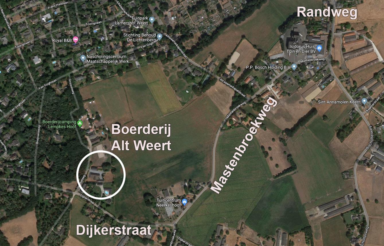 Toegang Herenboeren-locatie Alt Weert (klik voor een vergroting)